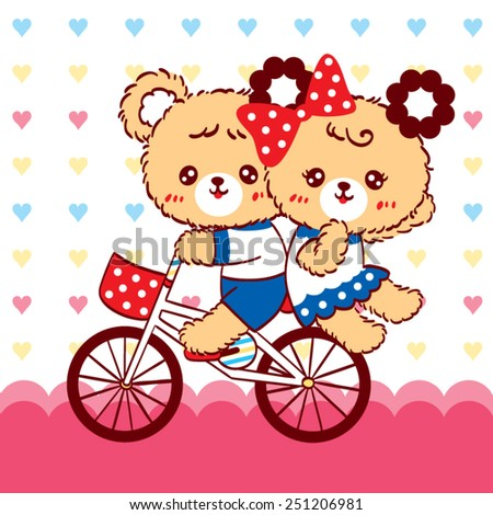 Cute couple bear cartoon ride bicycle on heart background