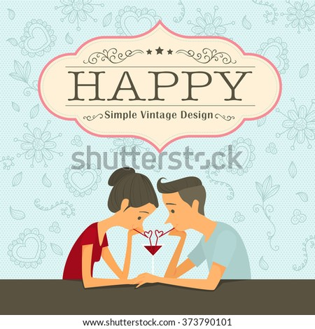 Cute couple having a summer refreshing drinking trough a straw and sharing a glass of juice. Vector Illustration simple vintage of flat design style. - stock vector