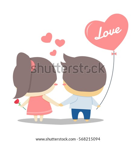 cute couple holding hands stock vector 568215094 shutterstock rh shutterstock com cartoon pictures of couples holding hands Couples Kissing Cartoon Dog
