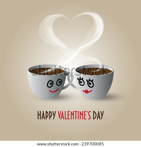 "Cute couple in love coffee cups with the inscription ""Happy Valentine's Day"" - stock vector"