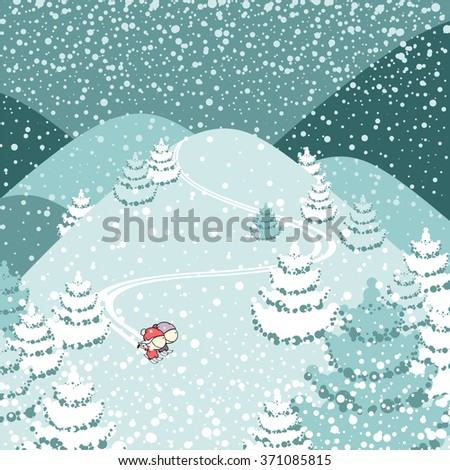 Cute couple of skiers  - stock vector