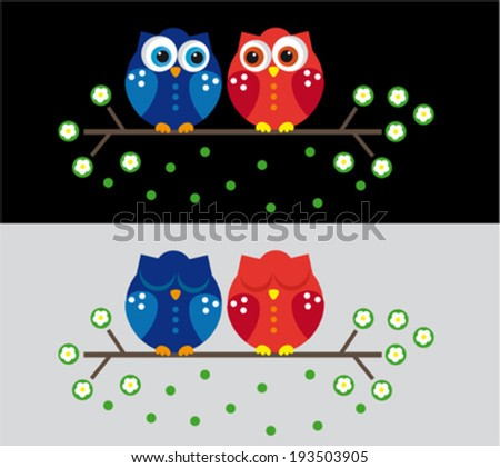 Cute couple owl. Vector - stock vector