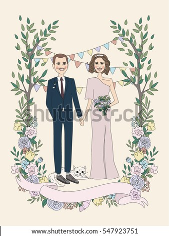 Illustration Married Couple Wedding Invitation Love Stock ...