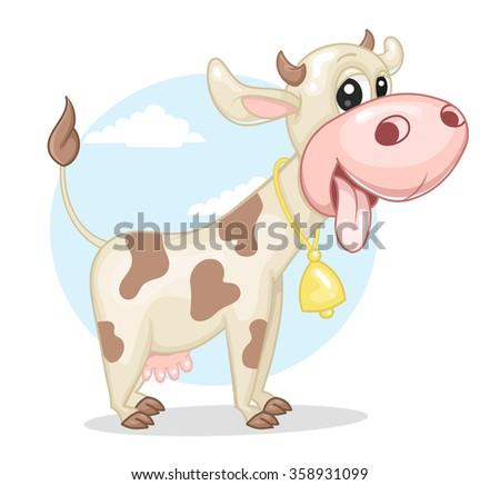 Cute cow - stock vector