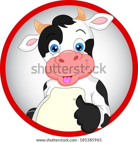 cute cow cartoon thumb up - stock vector