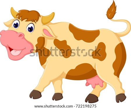 cute cow cartoon walking with laughing