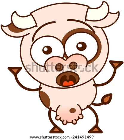 Cute cow in minimalistic style, with bulging eyes and big udder while wide opening its eyes and expressing big surprise combined with some fear - stock vector
