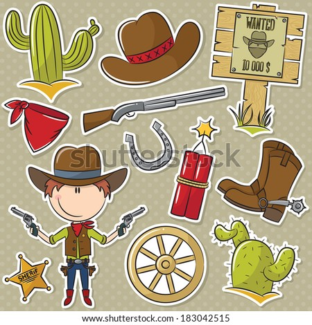 Cute cowboy with Wild West elements - stock vector