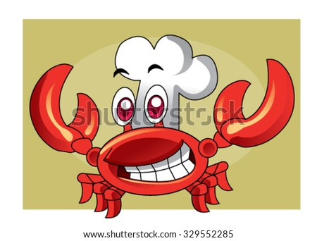 cute crab chef vector - stock vector