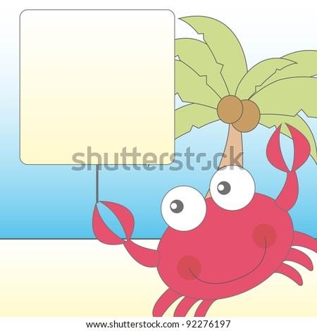 cute crab over cute landscape vector illustration - stock vector