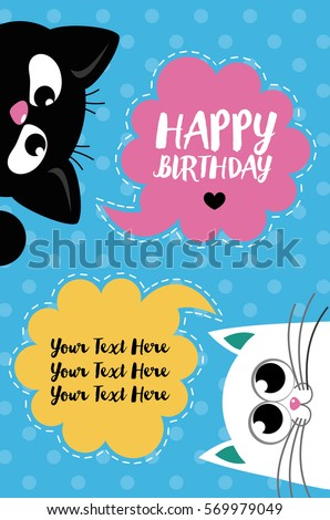 Cute creative cards templates with Happy birthday theme design. Hand Drawn card for birthday, anniversary, party invitations, scrapbooking. Vector illustration