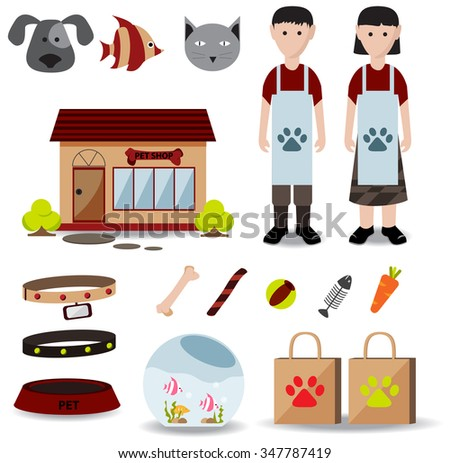 Cute creative pet shop object icon such as store exterior design, male and female employee uniform clothes, packaging bag, cat dog fish food and container, create by cartoon vector   - stock vector