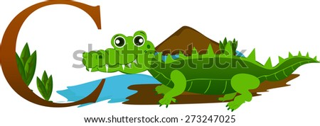 Cute crocodile alphabet Zoo for kids to learn letter C.