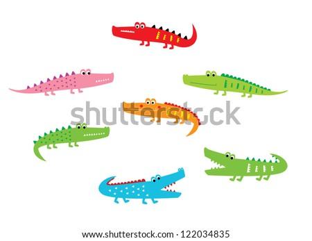 cute crocodile doodle - stock vector