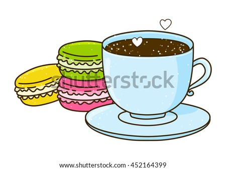 Cute cup of coffee with macarons