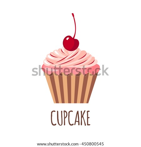 Cute cupcake icon in flat style isolated on white background. Vector illustration - stock vector