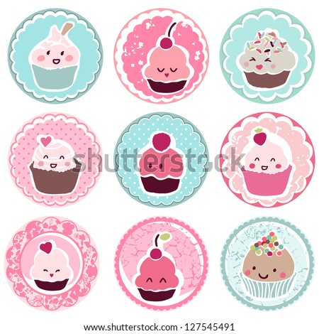 cute cupcake tags - stock vector