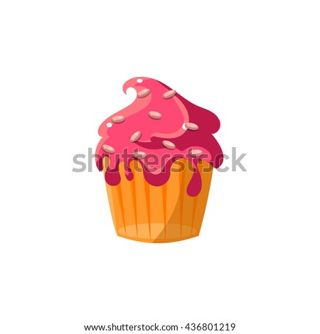 Cute Cupcake With Running Icing Flat Vector Cute Girly Style Isolated Sticker On White Background - stock vector