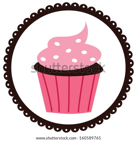 Cute Cupcake With Scalloped Border - stock vector