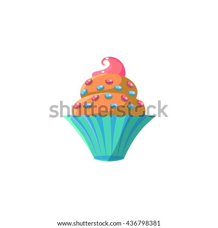 Cute Cupcake With Sprinkles Flat Vector Cute Girly Style Isolated Sticker On White Background - stock vector