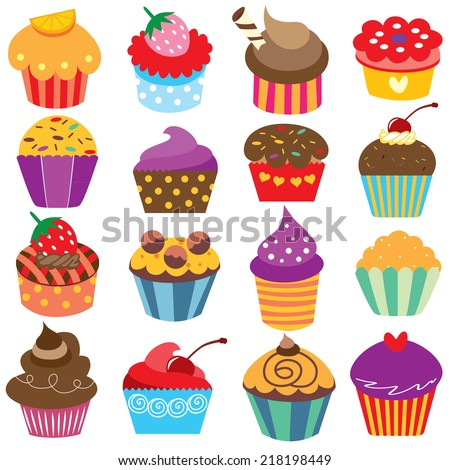 cute cupcakes clip art set - stock vector