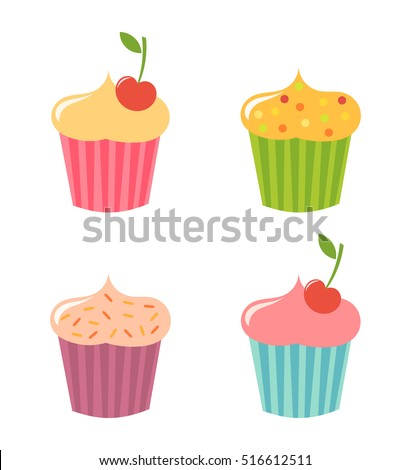 Cute cupcakes icons set. Vector illustration