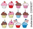 Cute Cupcakes with hearts, diamond ring, candle and American Flag - stock vector