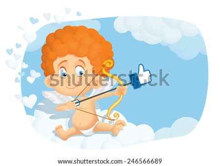 Cute Cupid Cartoon in Internet Online Dating Concept Vector - Cartoon of a sweet cupid angel aiming for love on social media network  - stock vector