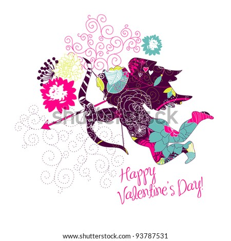 Cute Cupid. Happy Valentine's Day card. - stock vector