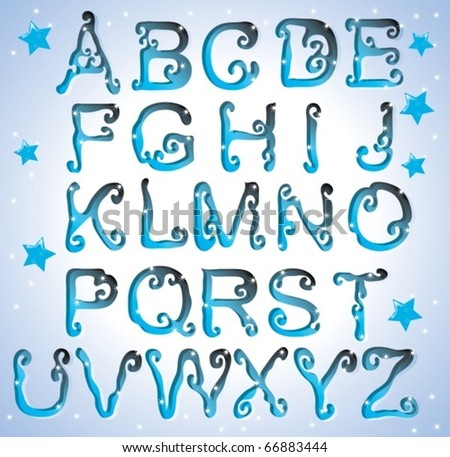 Cute curved alphabet - stock vector
