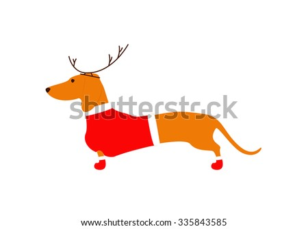 Cute dachshund brown in reindeer horns and red Christmas suit isolated on white background. Flat style vector illustration - stock vector