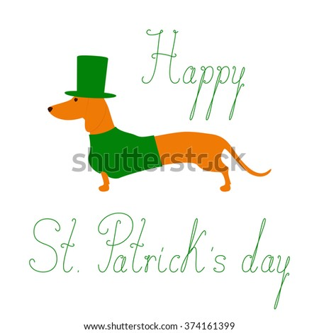 "Cute dachshund in emerald hat and jersey. Calligraphic lettering Happy St Patrick""s day. Greeting card / invitation template. Design element - stock vector"