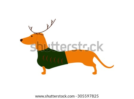 Cute dachshund wearing Christmas suit, green jersey decorated with red stripes and brown reindeer horns - stock vector