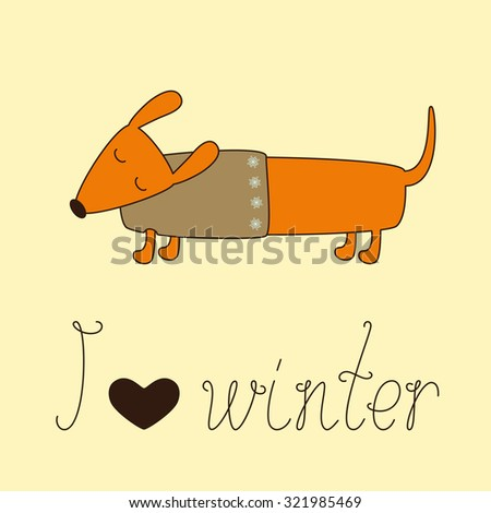 Cute dachshund with closed eyes in beige jersey decorated with snowflakes and calligraphic lettering I love winter with heart isolated on ginger background. Vector illustration - stock vector