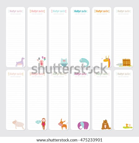 Cute Daily Planner Template Note Paper Vectores En Stock 473483344