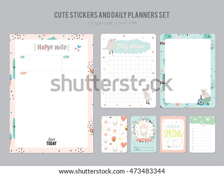 Cute Daily Planner Template Note Paper Stock Vector