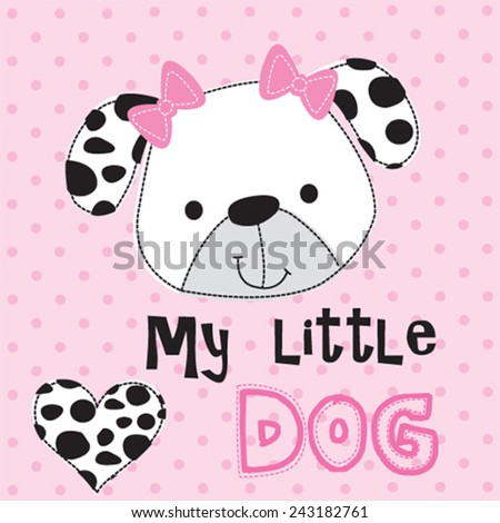 cute dalmatian dog head with ribbon polka dot background vector illustration - stock vector