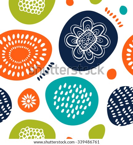 Cute decorative pattern in Scandinavian style. Abstract background with colorful simple shapes - stock vector