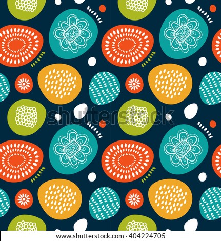 Cute decorative pattern in scandinavian style. Abstract background with colorful simple shapes. Cute decorative pattern in scandinavian style.  - stock vector