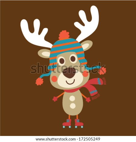 Cute deer with a funny hat. Vector illustration - stock vector
