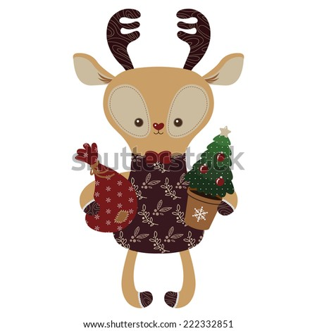 Cute deer with Christmas tree and Santa bag, great for Christmas and New Year design - stock vector