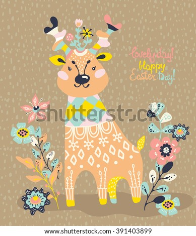 Cute deer with flowers. Spring card design. Easter card design. Vector - stock vector