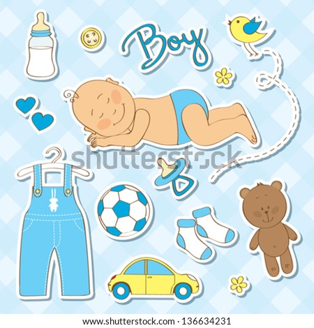 Cute design elements for baby shower - stock vector