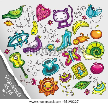 Cute design elements vector set