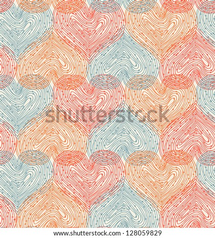 Cute design template with seamless abstract texture. Hearts netting background - stock vector