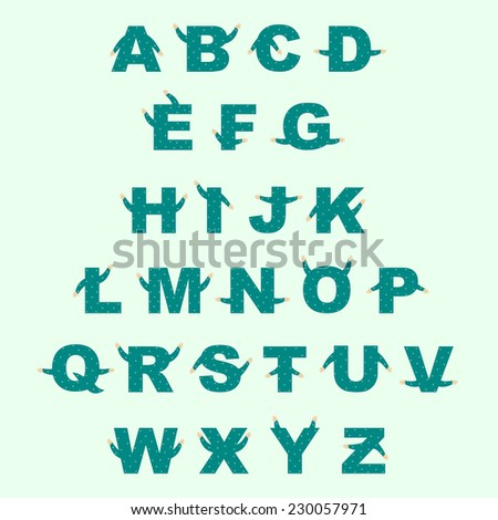 Cute digital isolated english alphabet with tiny hands - stock vector
