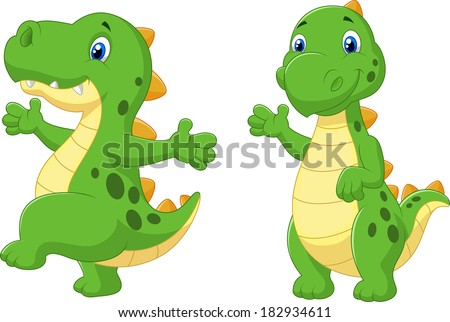 Cute dinosaur cartoon - stock vector