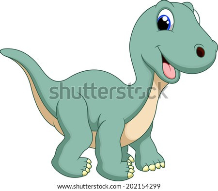 Cute dinosaur diplodocus cartoon - stock vector