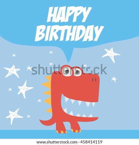 Cute dinosaur mascot template. Cartoon dinosaur illustration for children