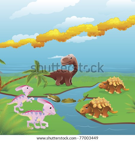Cute dinosaurs in prehistoric scene. Series of three illustrations that can be used separately or side by side to form panoramic landscape. - stock vector